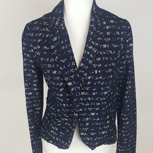 Maison Jules Navy Blue Lace Ruffle Blazer Jacket M